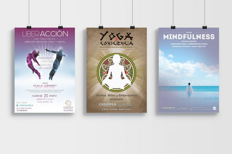 Diseño de cartelería para publicidad de talleres del Centro Casiopea de Terapias Naturales