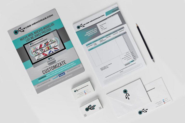 Material promocional, tarjetas y facturas-